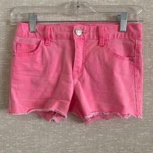 Justice Light Pink Raw Hem Shorts